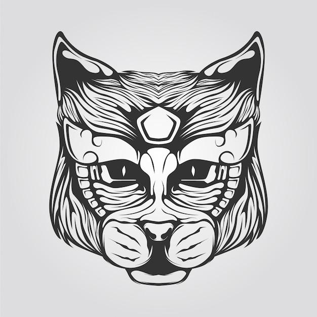 Katzenlinie kunst in schwarzweiss Premium Vektoren