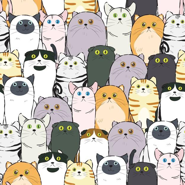 Katzenmuster nahtlos Premium Vektoren