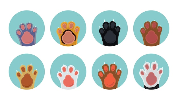 Katzenpfotenikonen. karikaturkätzchenfüße im kreis, haustiervektorikonen Premium Vektoren