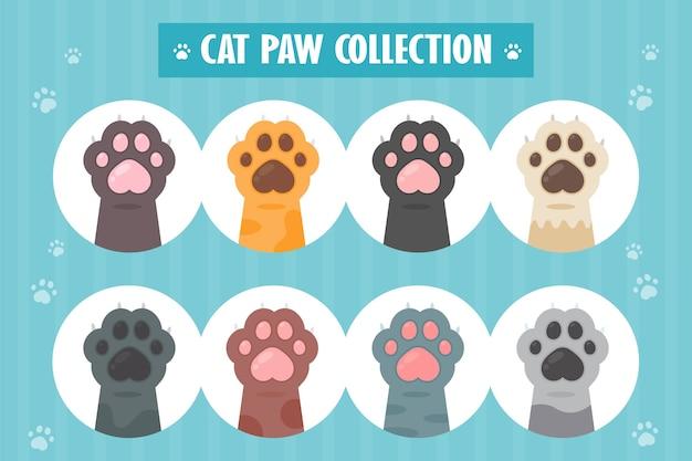 Katzenpfotensatz verschiedene arten niedliche kätzchenhandentwürfe isoliert von. Premium Vektoren