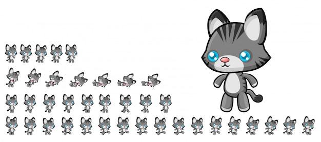 Katzenspiel sprites Premium Vektoren
