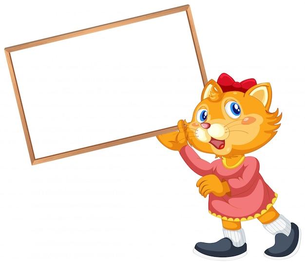 Katzenzeichentrickfilm-figur mit leerem plakat Kostenlosen Vektoren