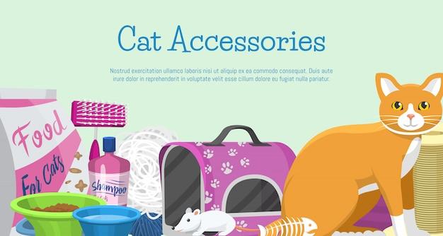 Katzenzubehör-fahnenvektorillustration. tierbedarf, futter, katzenspielzeug, toilette und pflegeausrüstung. Premium Vektoren