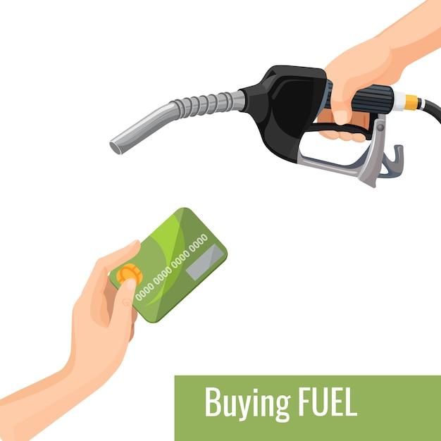 Kauf eines emblems für benzinkonzepte Premium Vektoren