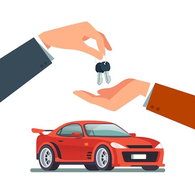 Kaufen, Mieten eines neuen oder gebrauchten schnellen Sportwagens Kostenlose Vektoren