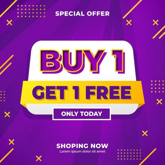 Kaufen sie 1 holen sie sich 1 kostenlose social media marketing post content banner vorlage Premium Vektoren