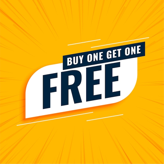 Kaufen sie ein erhalten sie ein kostenloses gelbes banner Kostenlosen Vektoren