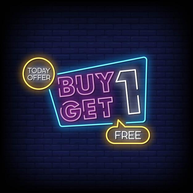 Kaufen sie ein erhalten sie einen freien leuchtreklame-art-text-vektor Premium Vektoren