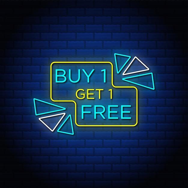 Kaufen sie ein und erhalten sie ein kostenloses verkaufsbanner im neonstil. Premium Vektoren