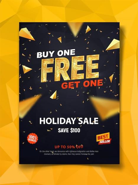 Kaufen sie eine und erhalten sie eine kostenlose vorlage für dunkle flyer mit goldenen dreiecken Premium Vektoren