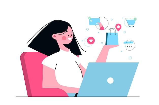 Kaufen sie online-konzeptillustration Premium Vektoren