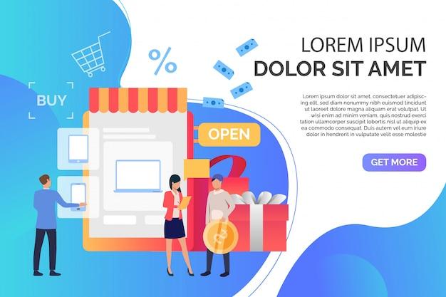 Kaufende geräte der leute im online-shop mit beispieltext Kostenlosen Vektoren