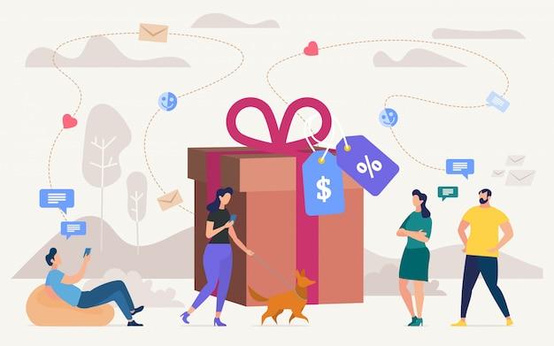 Kaufende geschenke auf shop-verkaufs-flachem konzept Premium Vektoren