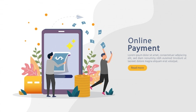 Kaufende on-line-illustration des e-commerce-marktes mit charakter der kleinen leute. mobile payment oder überweisung Premium Vektoren