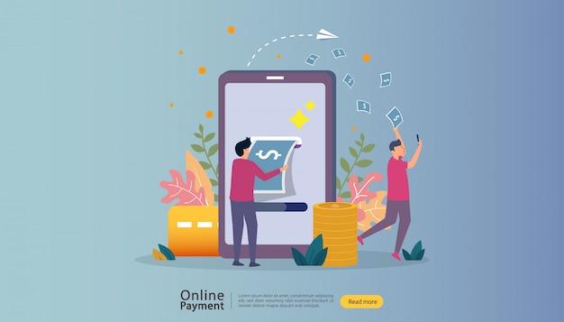 Kaufende on-line-illustration des e-commerce-marktes mit charakter der kleinen leute. Premium Vektoren