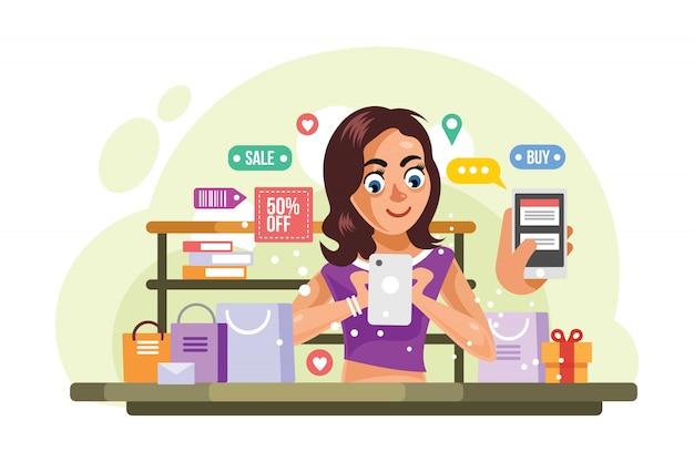 Kaufende sachen der frau an der online-shop-vektor-illustration Premium Vektoren