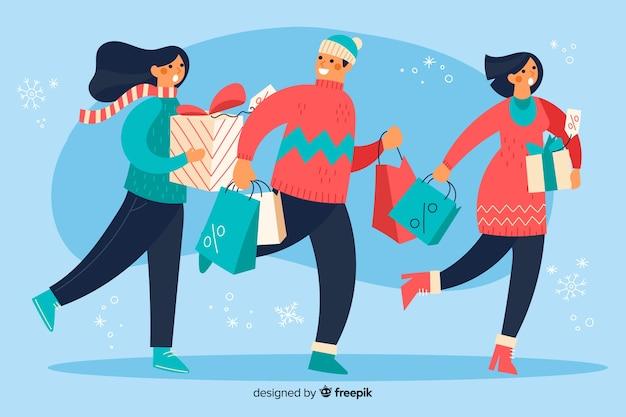 Kaufende weihnachtsgeschenke der illustrationsleute Kostenlosen Vektoren