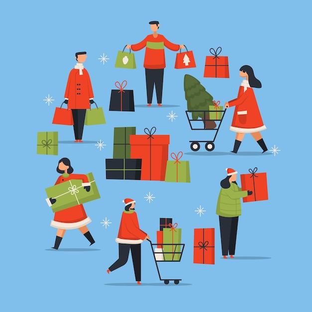 Kaufende weihnachtsgeschenke der leute eingestellt Kostenlosen Vektoren