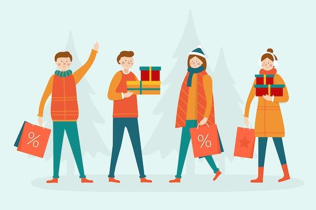 Kaufende weihnachtsgeschenke der leute mit bäumen im hintergrund Kostenlosen Vektoren