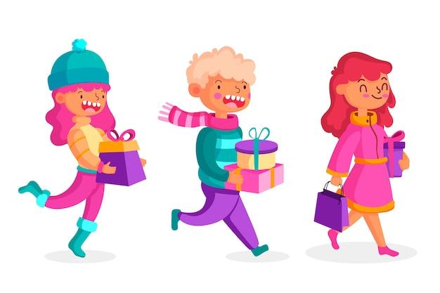 Kaufende weihnachtsgeschenkillustrationen der leute eingestellt Kostenlosen Vektoren