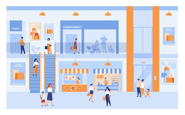 Kaufhaus interieur mit kunden. menschen, die im einkaufszentrum einkaufen, durch gebäudehallen an fenstern vorbei gehen und taschen tragen. für markt, verkauf, rabatt s. Kostenlosen Vektoren