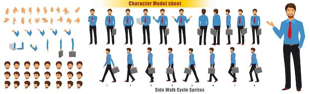 Kaufmann charakter modell blatt mit walk zyklus animation sprites blatt Premium Vektoren