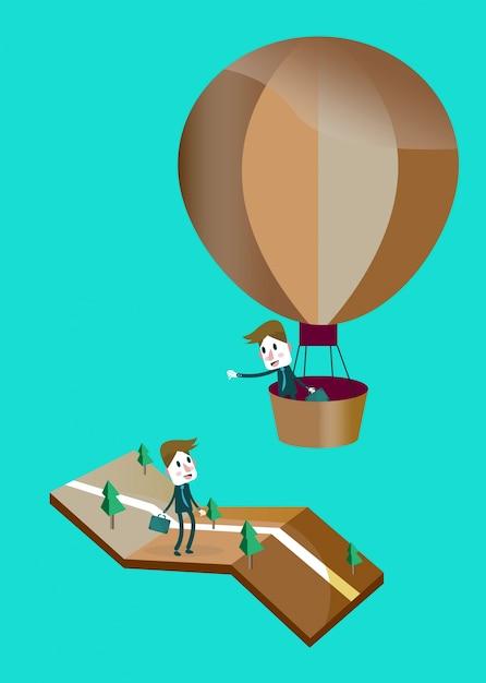 Kaufmann in einem heißluftballon, say hallo mit freund auf der straße. Premium Vektoren