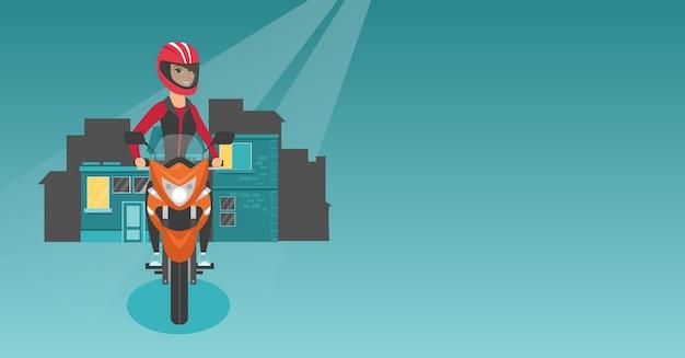Kaukasische frau, die ein motorrad nachts reitet. Premium Vektoren