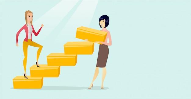 Kaukasische geschäftsfrau lässt oben die karriereleiter laufen Premium Vektoren