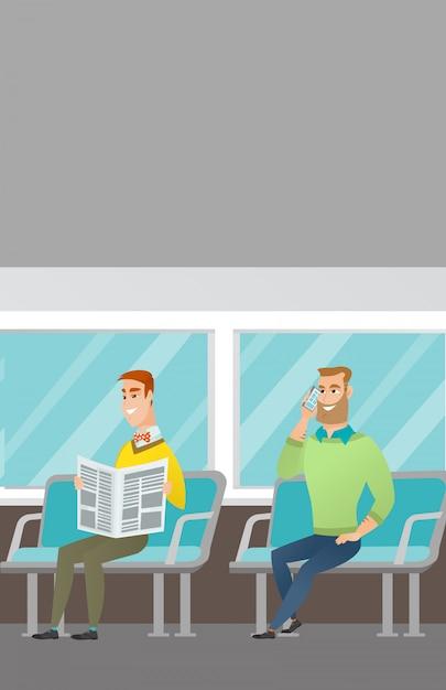 Kaukasische leute, die mit öffentlichen verkehrsmitteln reisen. Premium Vektoren