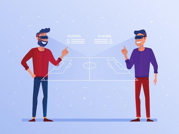 Kaukasische männer in vr-kopfhörern onlinefußballspiel aufpassend. Premium Vektoren