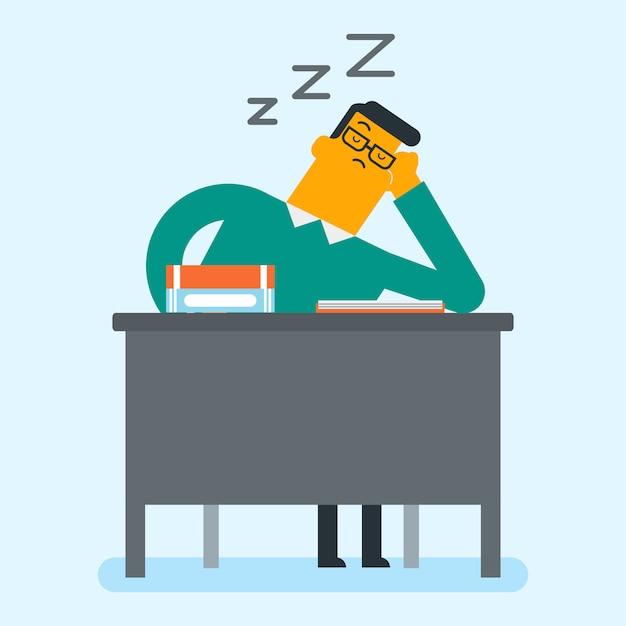 Kaukasischer student, der auf dem schreibtisch mit büchern schläft. Premium Vektoren