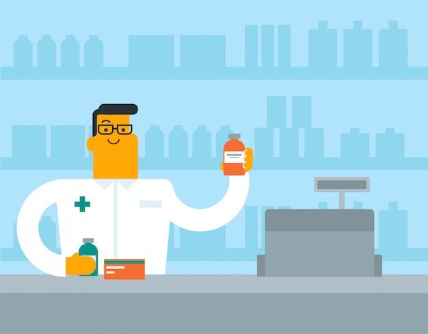 Kaukasischer weißer apotheker, der etwas medizin zeigt. Premium Vektoren