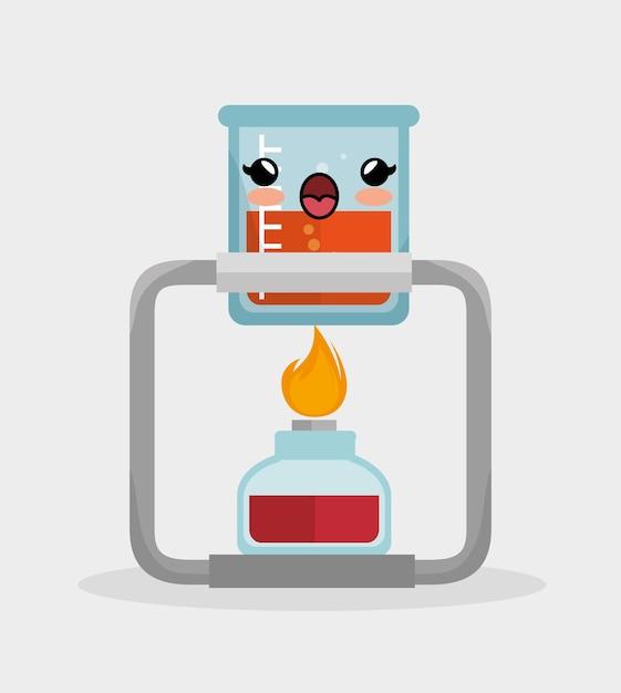 Kawaii becherlabor mit bunsenbrenner chemie Premium Vektoren