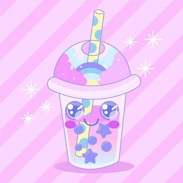 Kawaii bubble tea illustration mit sternen Kostenlosen Vektoren