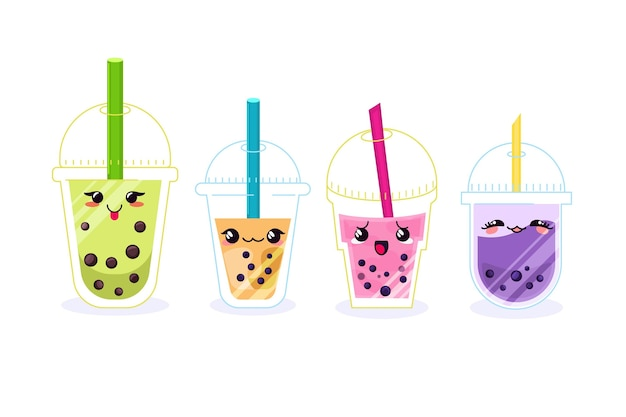 Kawaii bubble tea illustration Kostenlosen Vektoren