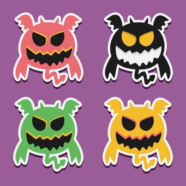 Kawaii cartoon monster doodle design illustration Premium Vektoren