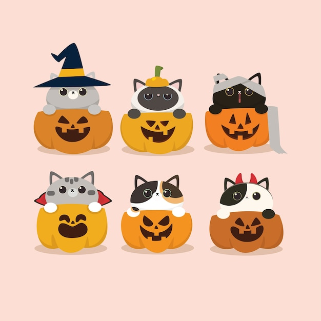 Kawaii cute flat design halloween katzen- und kürbisset Premium Vektoren