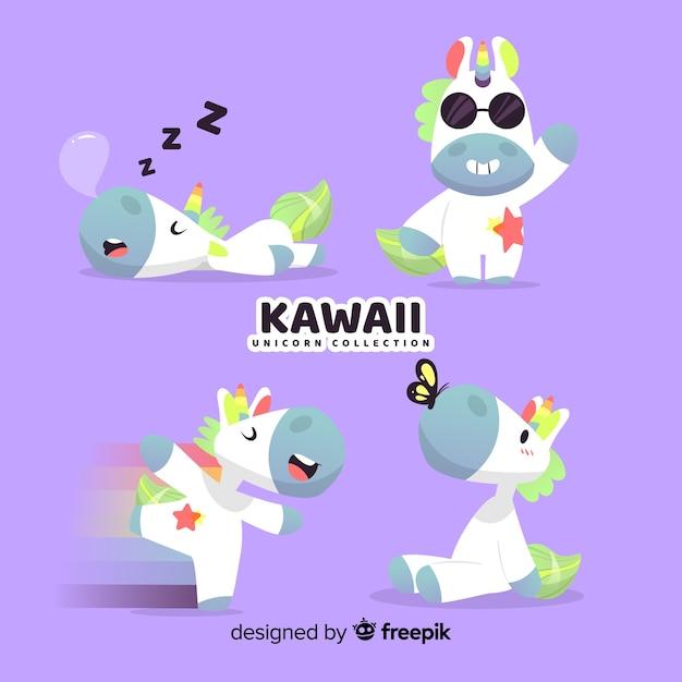 Kawaii einhorn-charaktersammlung Kostenlosen Vektoren