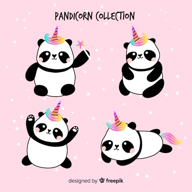 Kawaii einhornart-pandasammlung Premium Vektoren