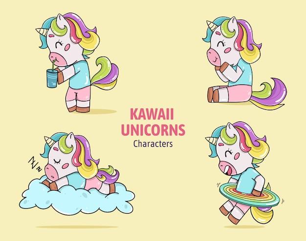 Kawaii-einhorncharaktersammlungsvektor Kostenlosen Vektoren
