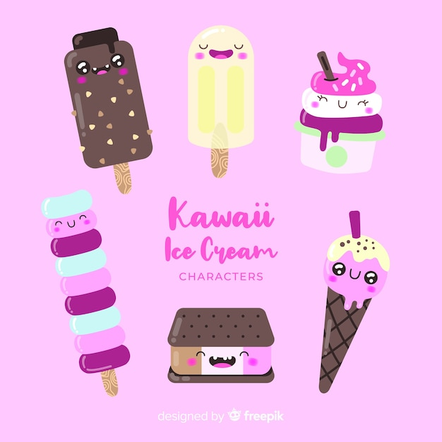 Kawaii eis charaktere Kostenlosen Vektoren