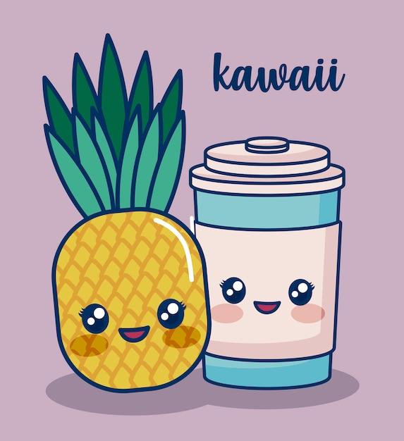 Kawaii essen Kostenlosen Vektoren