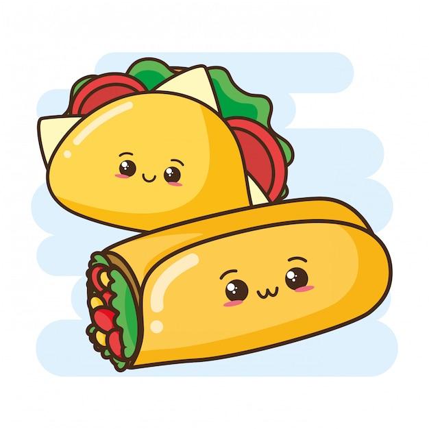 Kawaii fast food süße burrito und taco Kostenlosen Vektoren