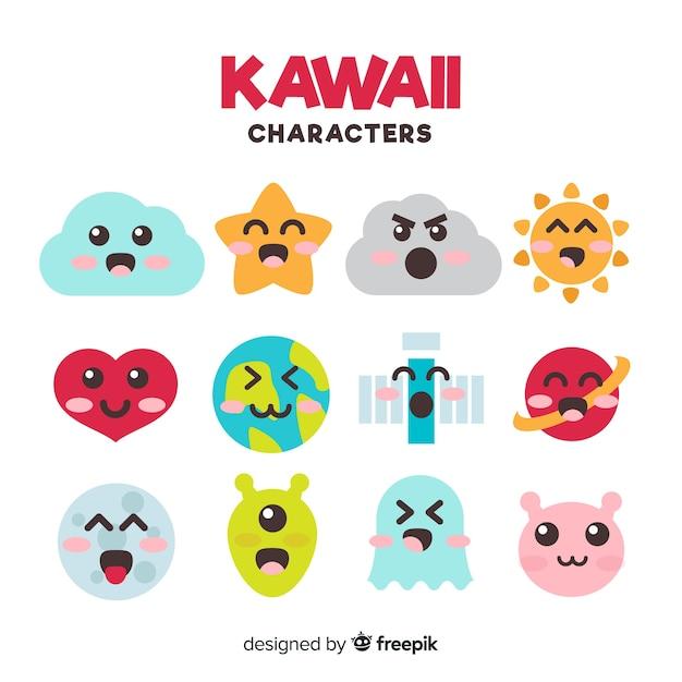 Kawaii flache charaktersammlung Kostenlosen Vektoren