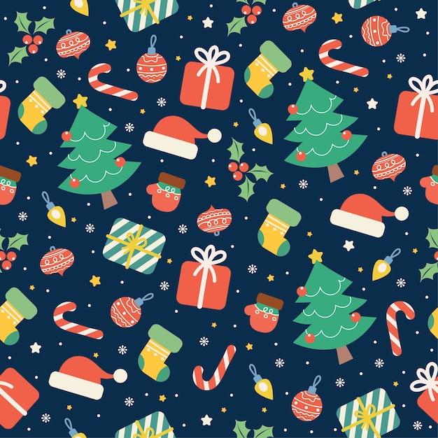 Kawaii frohe weihnachten nahtloses muster Premium Vektoren