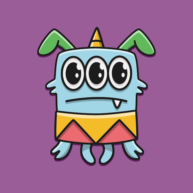 Kawaii gekritzel cartoon charakter monster design illustration Premium Vektoren