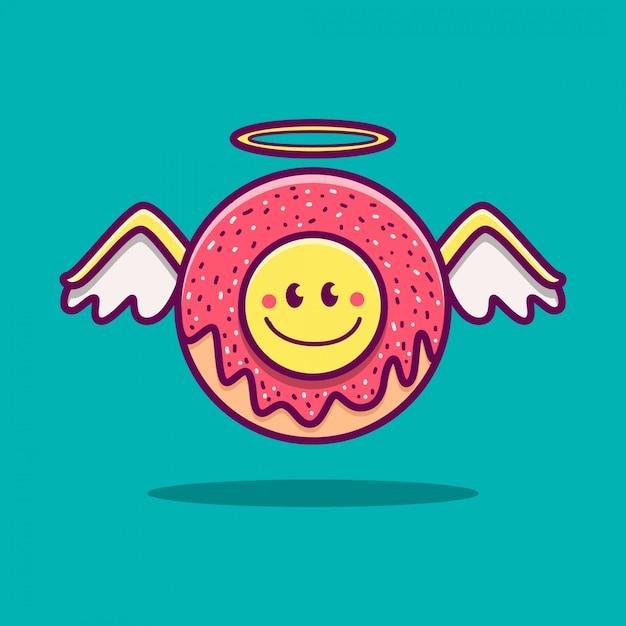 Kawaii gekritzel cartoon engel donut illustration Premium Vektoren