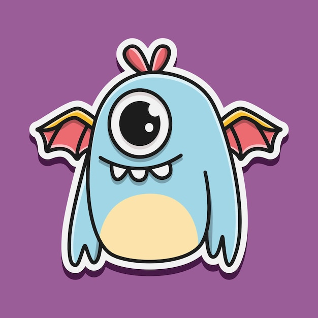 Kawaii gekritzel monster charakter illustration Premium Vektoren