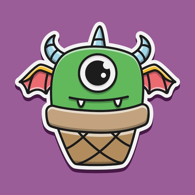 Kawaii gekritzel monster charakter illustration Premium Vektoren